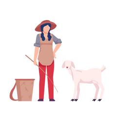 Asian female farmer tending sheeps vector