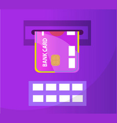 atm with a bank card icon flat design atm vector image