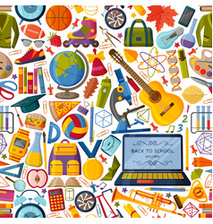 Back to school seamless pattern with 3d paper cut vector