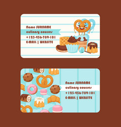 Bakery or pastry shop business card vector