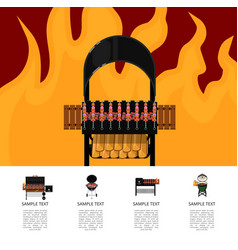 Barbecue food poster with meat skewers on grill vector