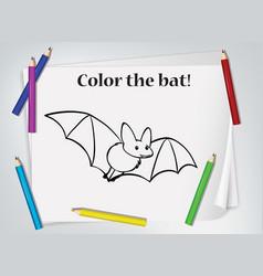 Bat colouring worksheet template vector