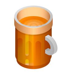beer wood mug icon isometric style vector image