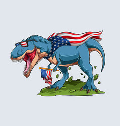 blue angry t rex dinosaur with american flag vector image