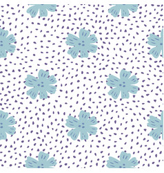 Blue chamomile flowers seamless pattern in vector