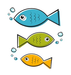 Blue Green and Orange Fish With Bubbles vector