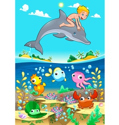Boy and dolphin with fish unde the sea vector
