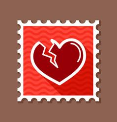 Broken heart stamp vector