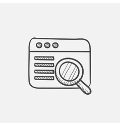 Browser window with magnifying glass sketch icon vector image