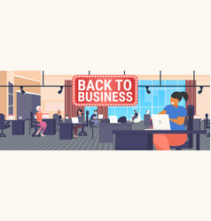 Businesspeople sitting at workplaces with laptops vector