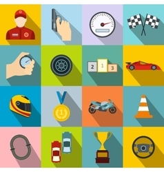 Car racing flat icons vector image