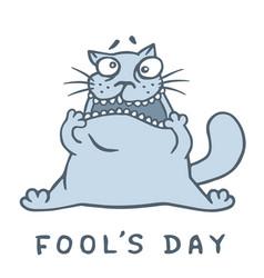Cartoon fat cat went crazy vector