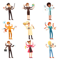cartoon flat multitasking characters set men and vector image
