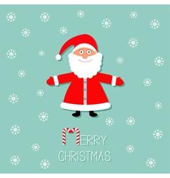 Cartoon Santa Claus and snowflakes Blue background vector image