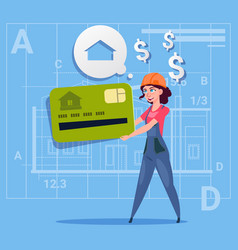 Cartoon woman builder hold credit card sell house vector