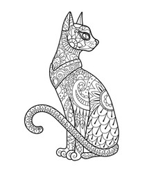 cat coloring book vector image