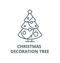 christmas decoration tree line icon vector image