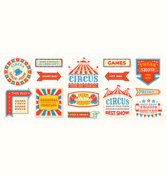 Circus labels carnival retro banner signs vector