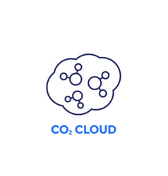 Co2 cloud line icon on white vector