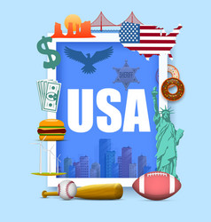 collection icons united states america vector image