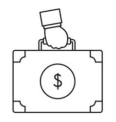 corruption money suitcase icon outline style vector image