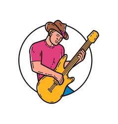 Cowboy rocker guitarist mono line art vector