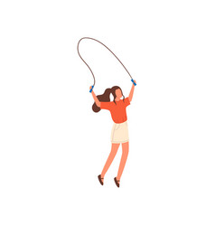 cute sexy woman with long hair jump in jumping vector image