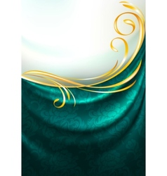 dark emerald fabric curtain vector image