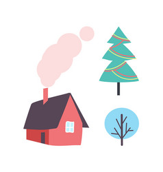 decorated christmas tree winter plant icon house vector image