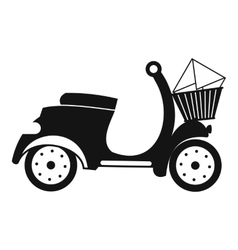 Delivery scooter black simple icon vector