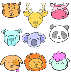 Doodle of head animal design colorful vector
