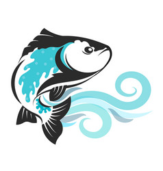 fish on blue waves silhouetted vector image