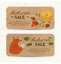 Flat autumn sale horizontal banners vector