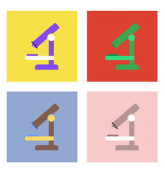 Flat icon design collection medical microscope vector