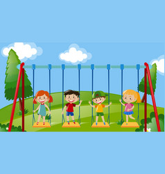 Four kids on swings in the park vector