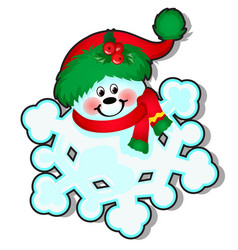 funny snowflake decorated with a cap santa claus vector image