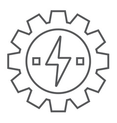 Gear with lightning thin line icon ecology energy vector