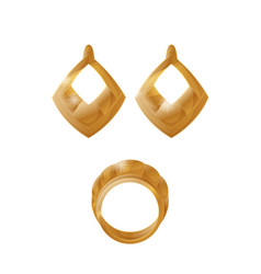 golden earrings and ring set vector image