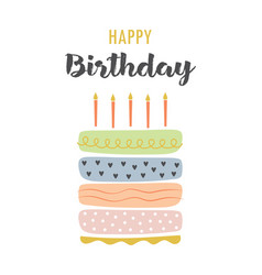greeting card with cake isolated on white vector image