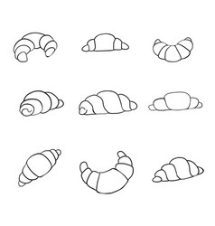 Hand drawn croissant icon badge bakery for design vector