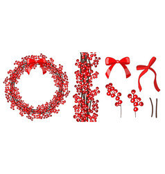 hand drawn wreath with red berries hand drawn vector image