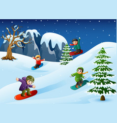 Happy kids in warm clothes snowboarding downhill vector