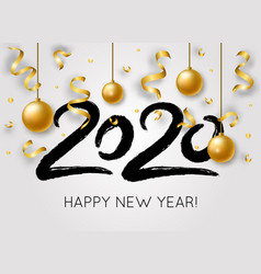 happy new year with 2020 hand drawn numbers with vector image