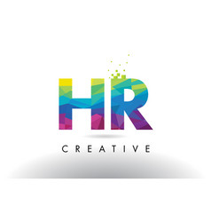 Hr h r colorful letter origami triangles design vector