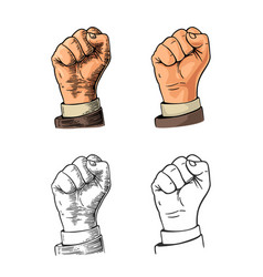 Human hand with a clenched fist black vector