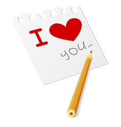 i love you note vector image vector image