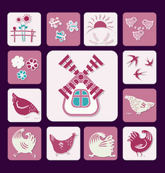icons poultry yard-02 vector image