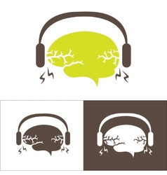 Image of the brain with headphones vector image