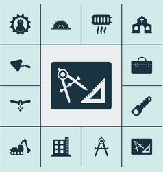 Industrial icons set with working church vector