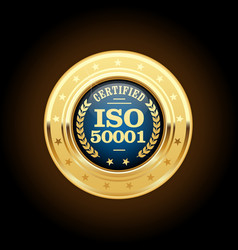 iso 50001 standard medal - energy management vector image
